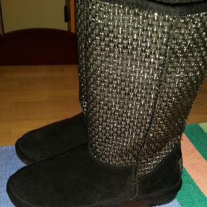 Skechers Black Suede Fleece Lined Boots W/Silver 8